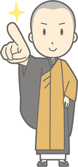 Buddhist priest Youth a - Pointing confirmation - whole body