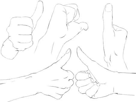 Hand, Sam's Up (Line drawing)
