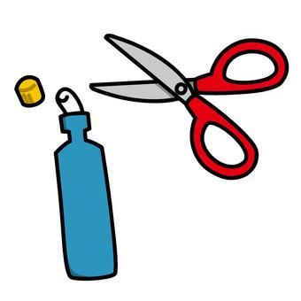 Glue and scissors