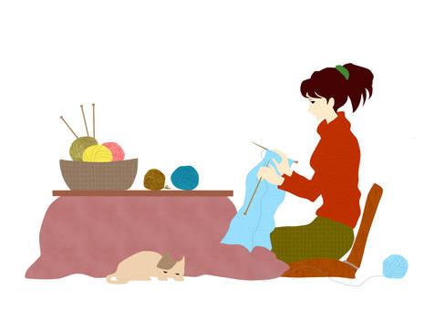 뜨개질을하는 여자 1