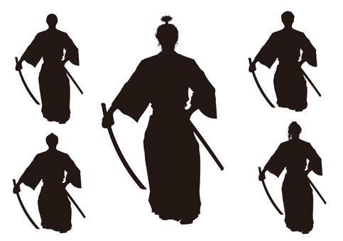 Samurai silhouette set material 2