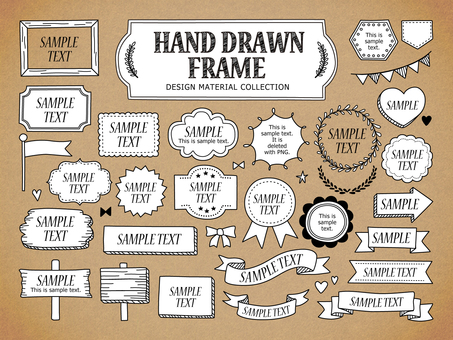 Hand-drawn wind frame set
