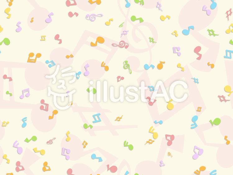 カラフルパターン-音符のイラスト