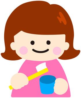 A girl brushing