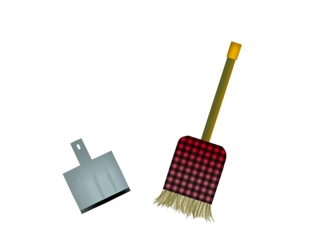 A broom and a dust collector