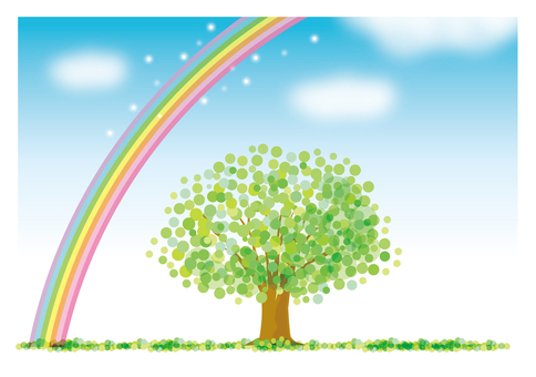 Green tree and blue sky and big rainbow