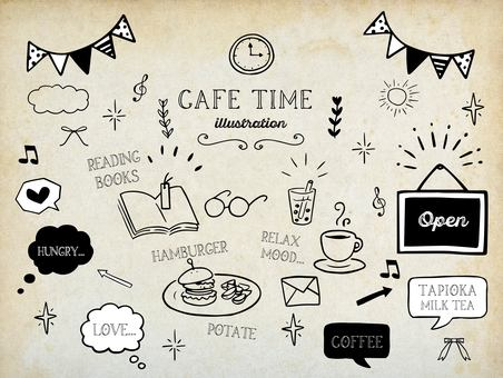 Hand-drawn material illustrations inspired by a cafe