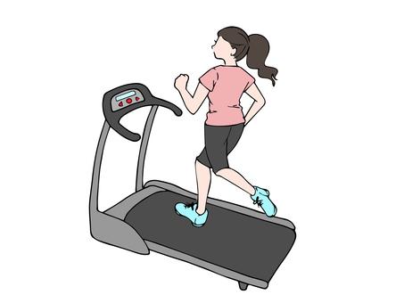 Woman exercising on running machine