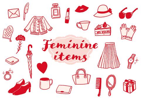 フェミニンアイテムアイコン〈ピンク〉