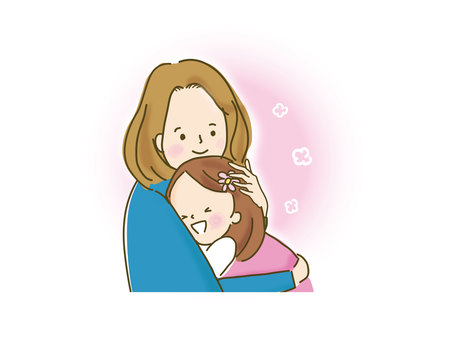 ママと抱き合う女の子