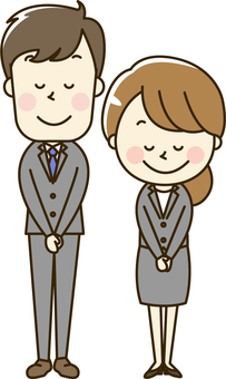 Office workers wearing suit male and female 2-1 bow