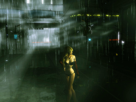 A woman taking a walk on a rainy night