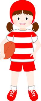 女孩玩橄欖球