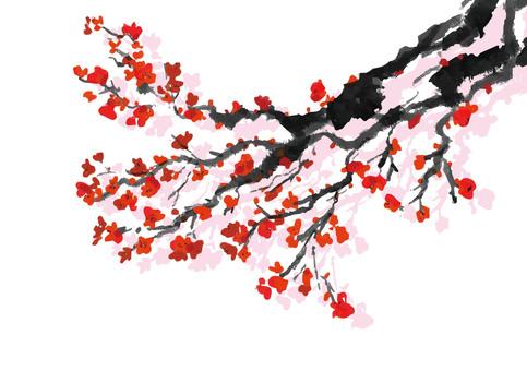 梅の水墨画素材1