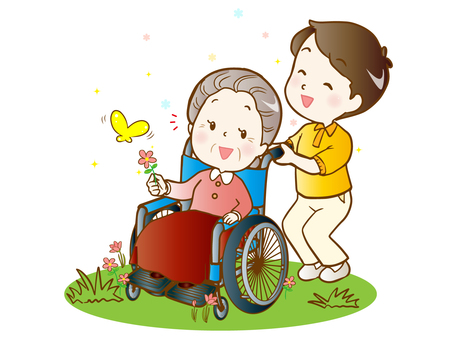 <Modified version> Senior care (walking in a wheelchair)