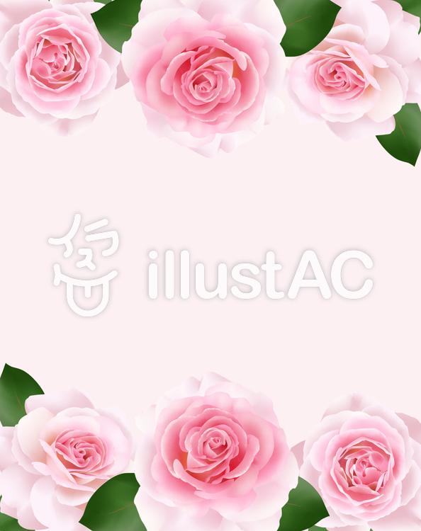 ピンク色の薔薇の花フレーム・1