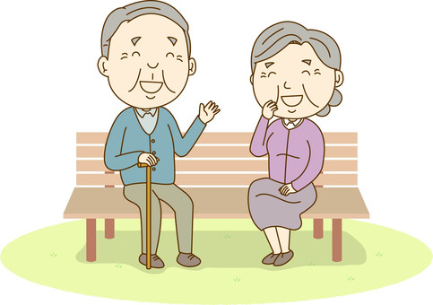 An old couple sitting on a bench and chatting with you