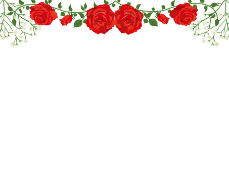 Red rose garland decoration card 03