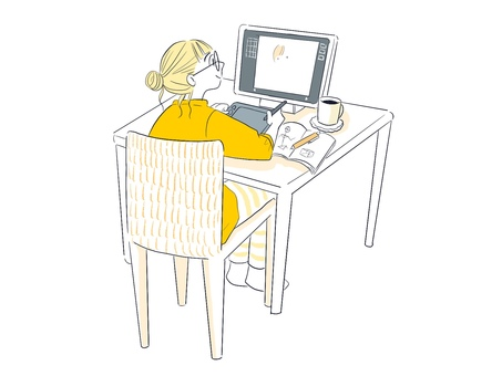使用個人電腦工作的女性