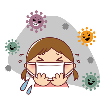 Girl in mask and virus