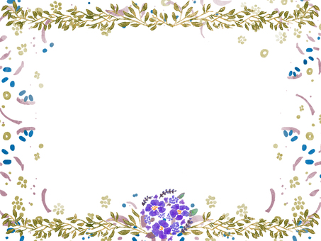 Watercolor floral frame ④
