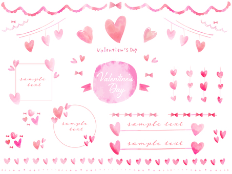 Pink hand painted heart watercolor valentine