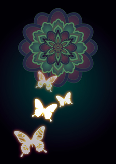 Mysterious flowers and butterflies _ green