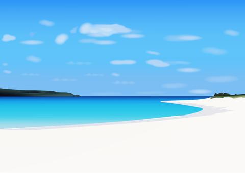 여름의 모래 사장과 바다