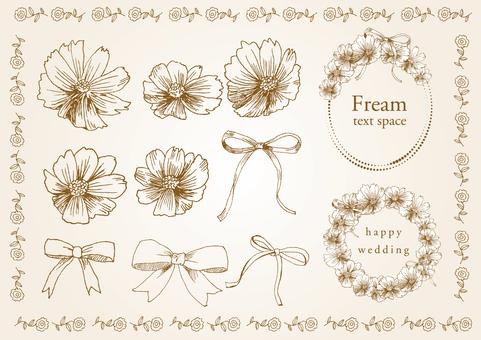 Handwritten material 010 flower frame