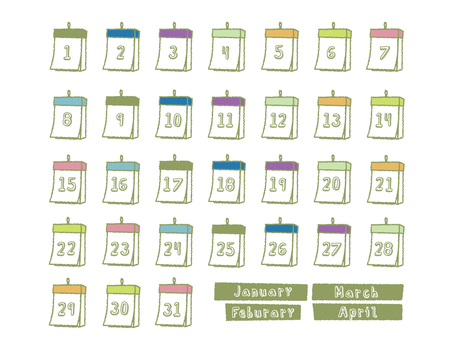 Calendar from January to April