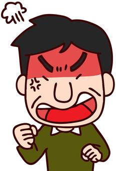 얼굴을 새빨갛게하고 화가 아버지의 일러스트