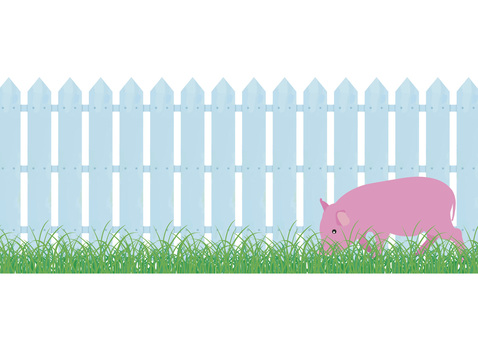 Realistic gardening fence and grass and pigs