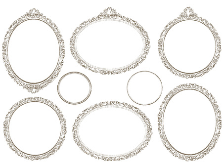 Antique style fashionable handwriting frame frame round