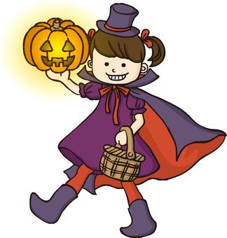 Pumpkin with Halloween girl