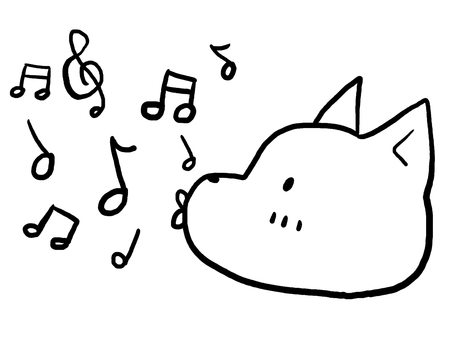 Cat animal line drawing musical note
