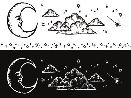 Handwritten illustration Moon Cloud