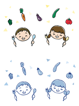 Children eating / hand-painted