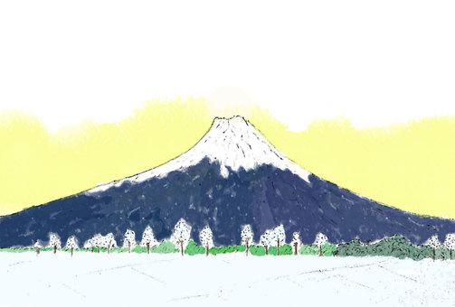 富士山と白銀日の出前(透過)