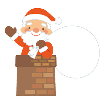 Santa who takes a face out of the chimney