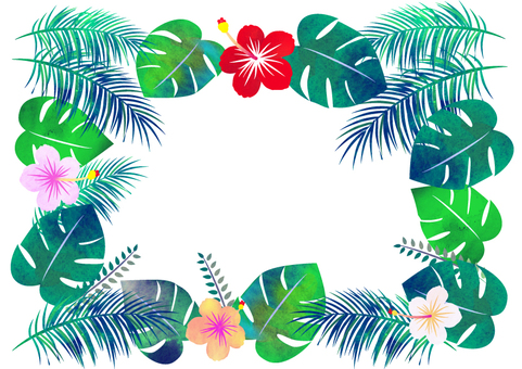 Tropical frame ☆ watercolor style
