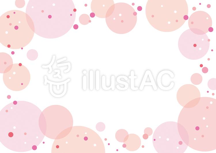 水玉フレーム/ピンク系のイラスト