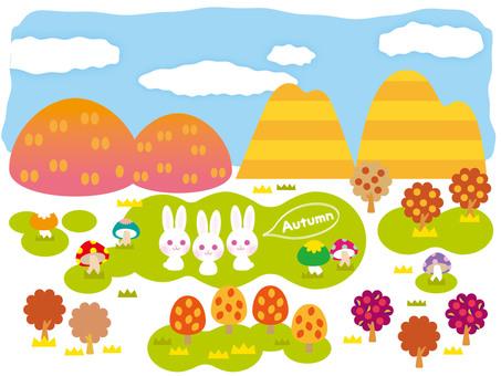 산과 단풍과 토끼