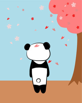 Panda watching the cherry tree