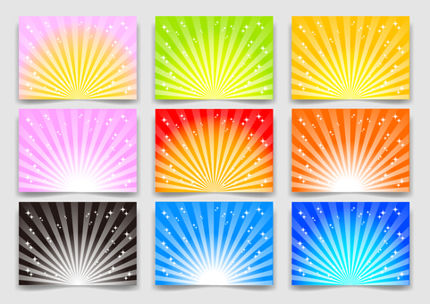 Colorful radial glitter background material set