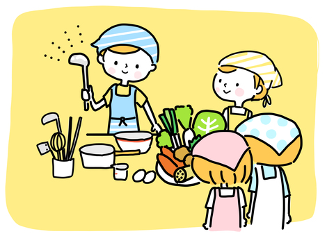 Child cooking class (hand drawn)