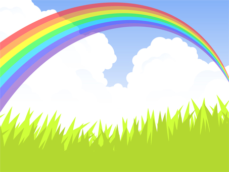 Prairie and rainbow bridge (7 colored rainbow)
