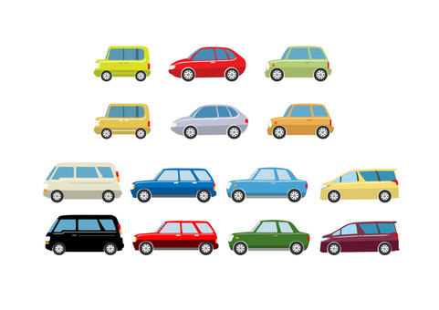 Several types of cars
