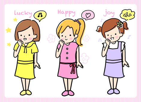 Happy expression girl set