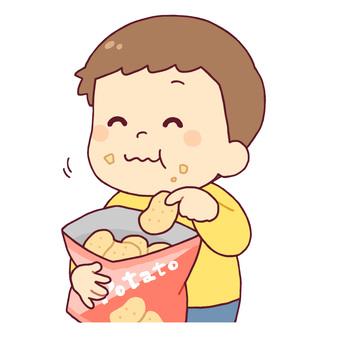 一個吃甜食的男孩