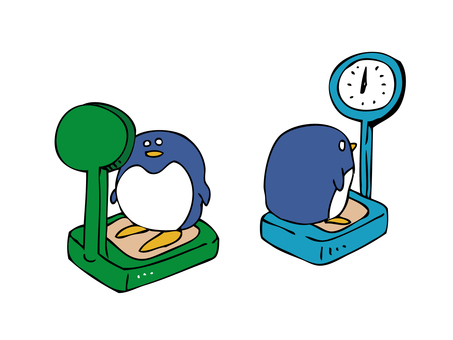 Penguin on a weight scale